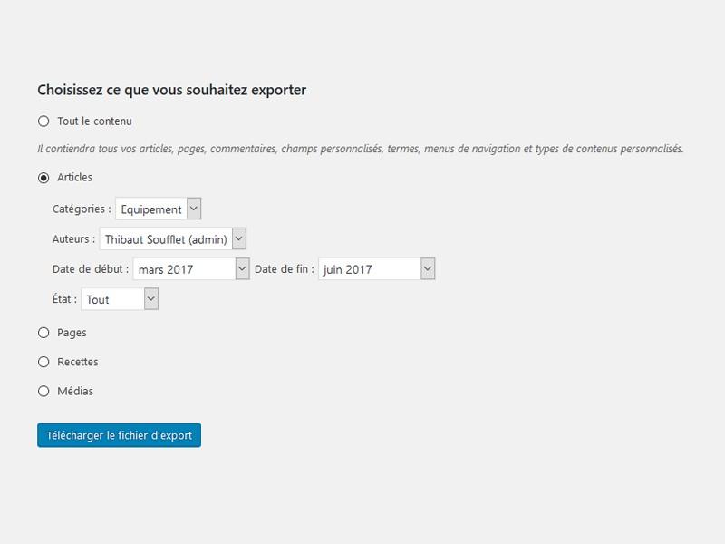Exportation personnalisée des articles WordPress