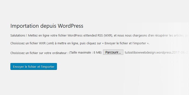 Importation XML depuis WordPress