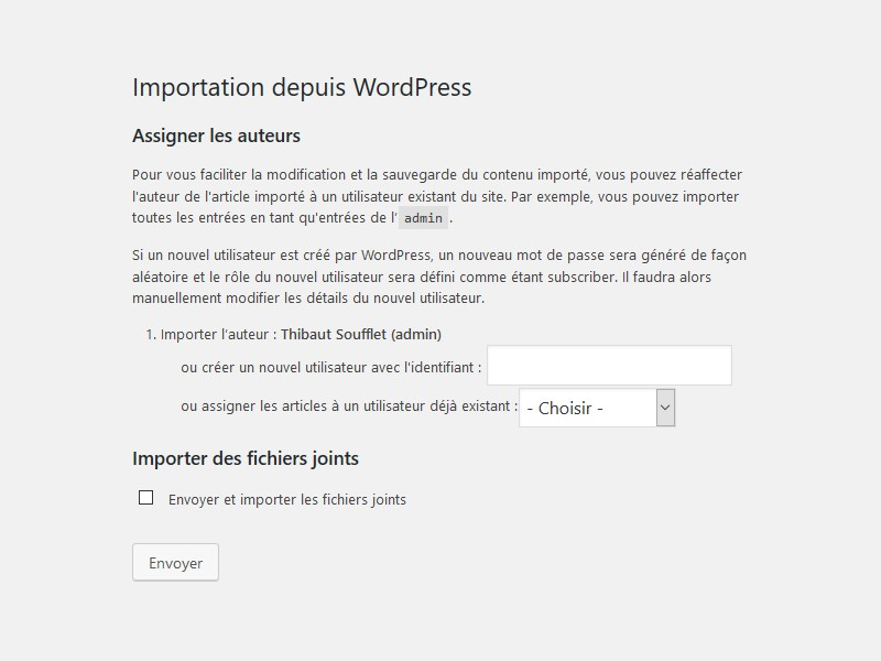 Options d'importation WordPress : auteurs et fichiers joints