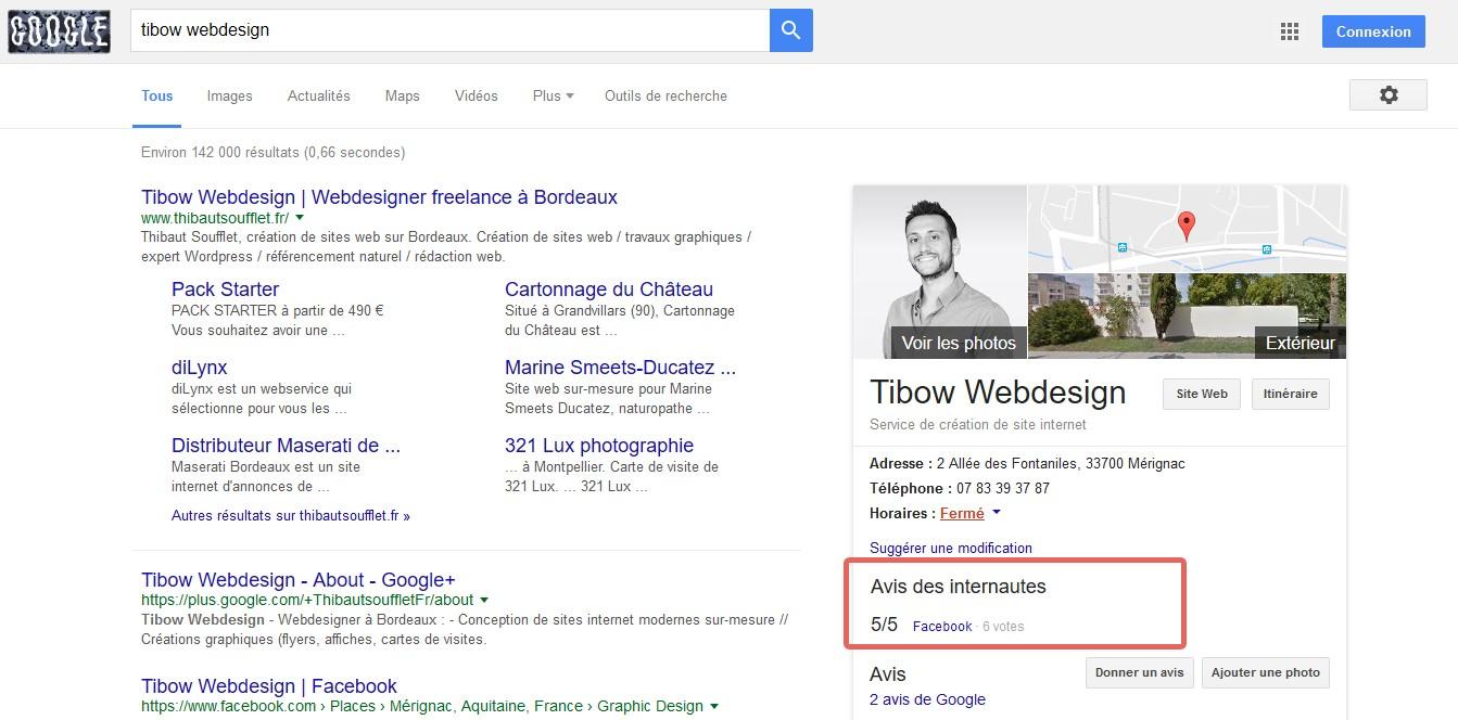 """Google affiche désormais les """"Avis des Internautes"""" Facebook dans les fiches entreprise Google My Business"""