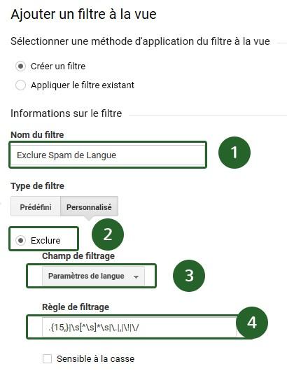 Ajouter un filtre de langue cotre le spam Google Analytics