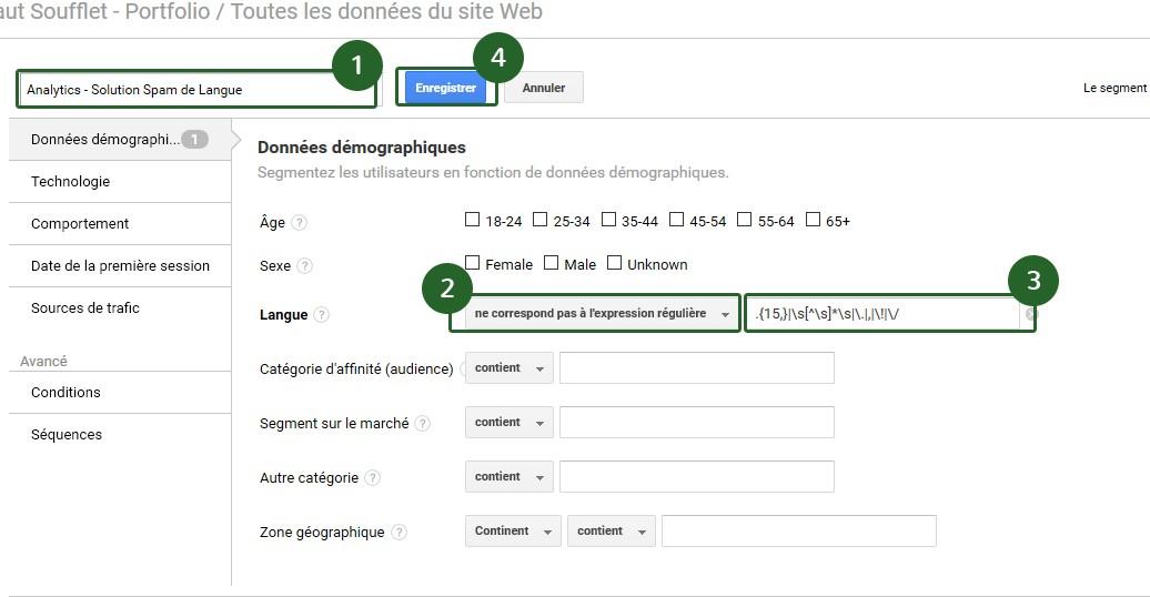 Créer un segment pour filtrer le Spam de Langue dans Google Analytics