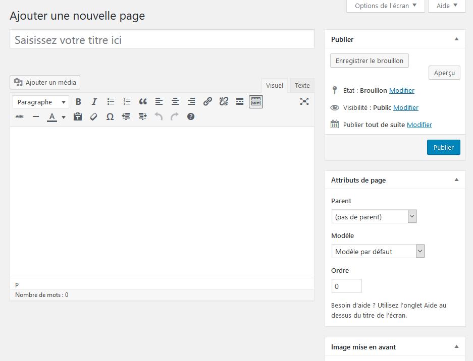 Une nouvelle page WordPress avec son éditeur de texte