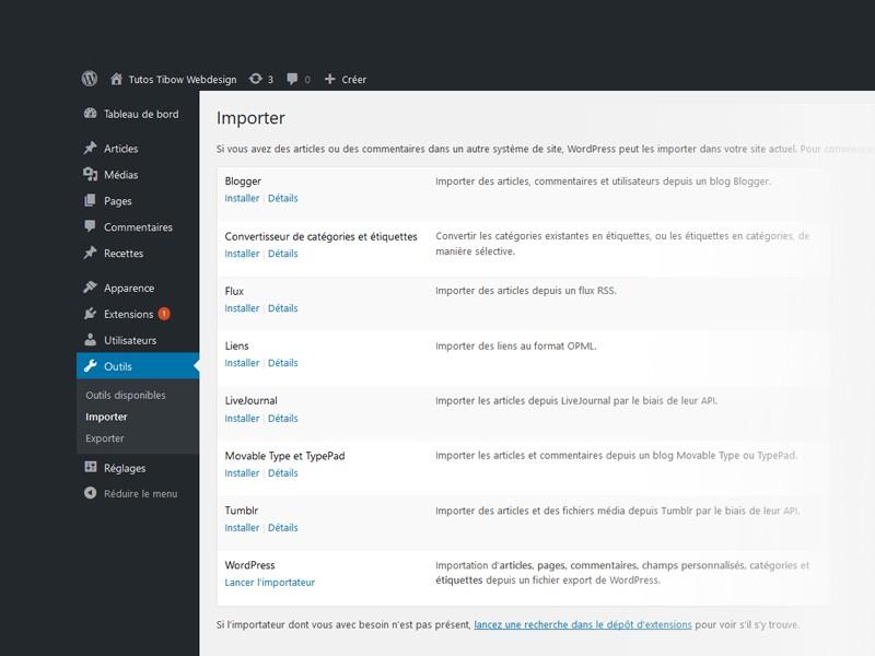 Importer des pages et articles dans WordPress