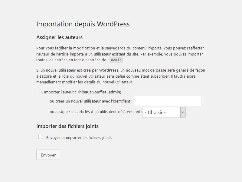 Options d'importation WordPress : auteurs et fichiers joints