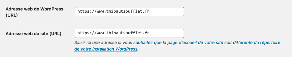 Réglage général WordPress pour résoudre erreur enregistrement JSON