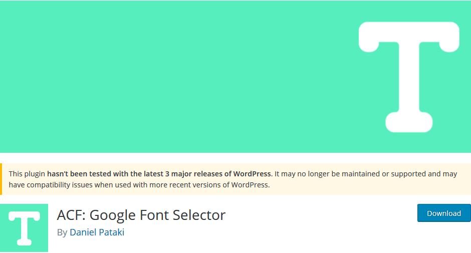 ACF Google Font Selector pour WordPress