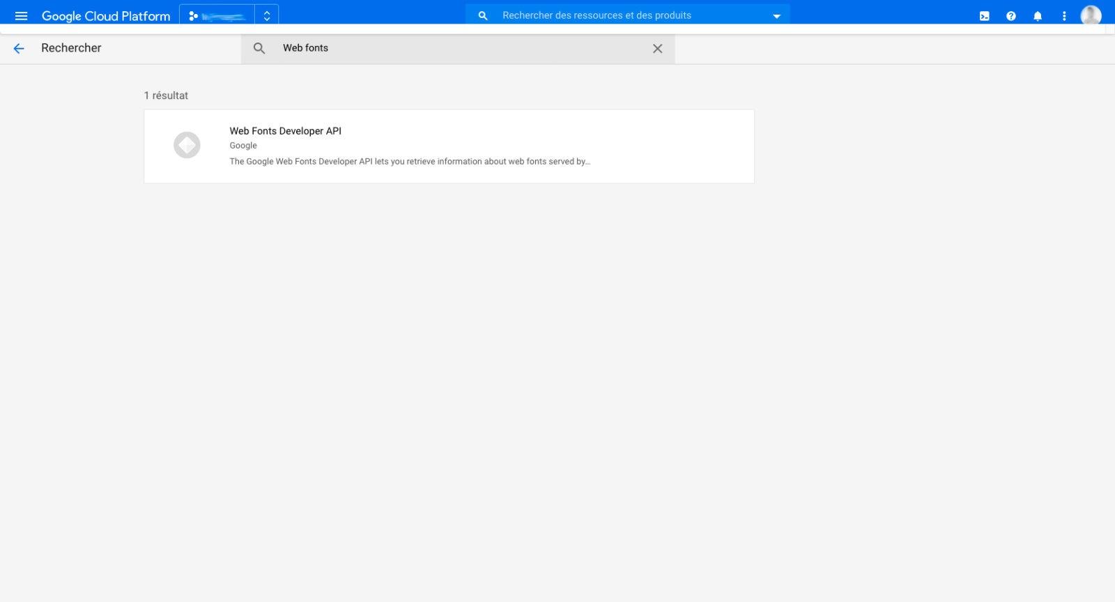 Rechercher Webfonts dans la bibliothèque d'API Google Cloud Platform