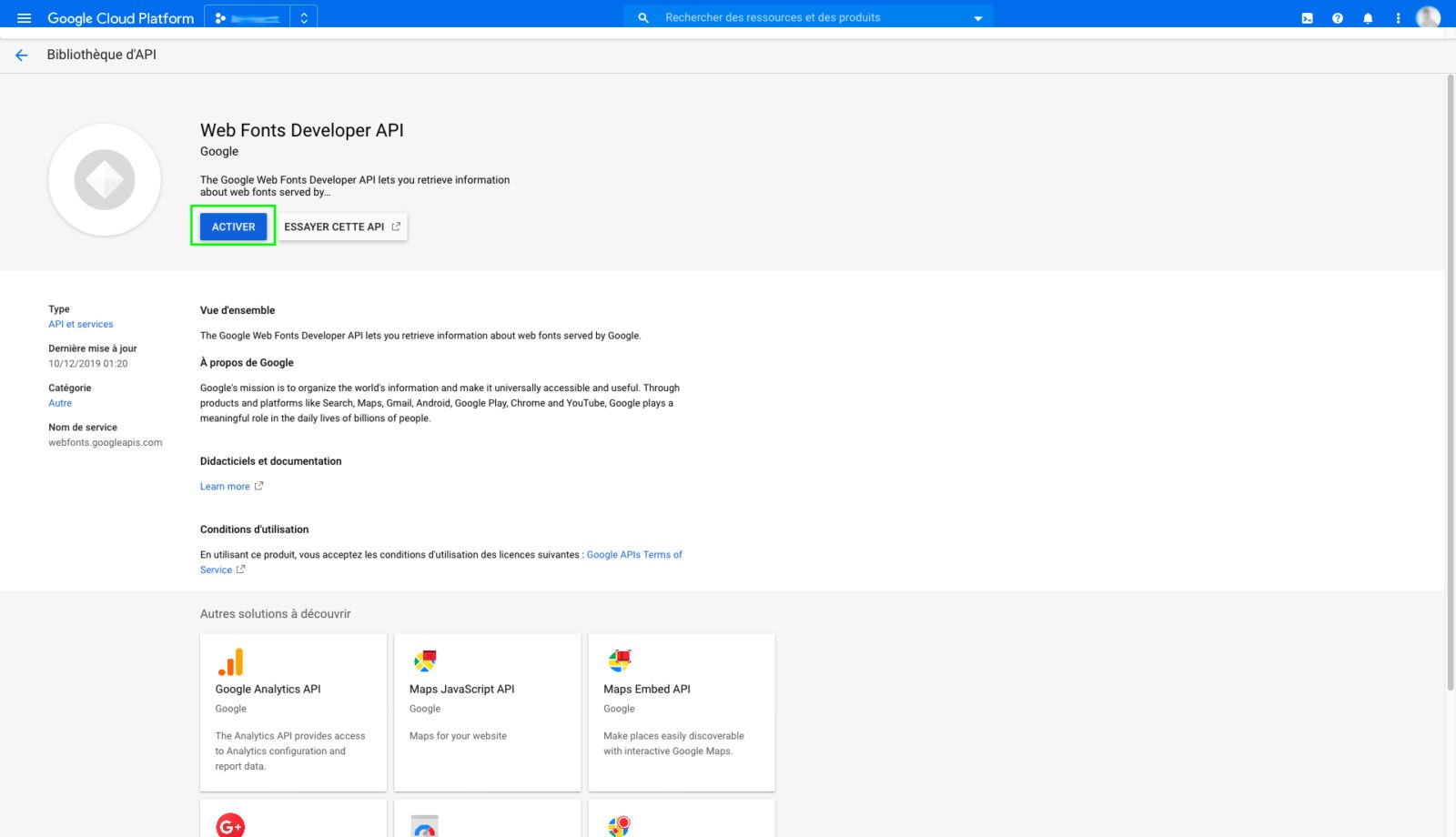 Activer Web Fonts API dans Google Cloud Platform